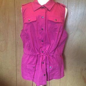 NWT- CJ Banks deep pink sleeveless safari vest